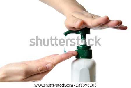 medical wash hand gesture series, cleaning with bubble isolated - stock photo