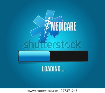 Medicare loading bar sign concept illustration design over blue - stock photo
