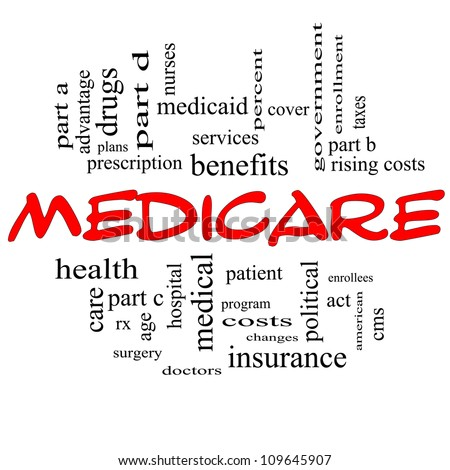 Medicare Word Cloud Concept in Red Capital letters with great terms such as advantage, health, care, hospital, tax, enrollment, part d and more - stock photo