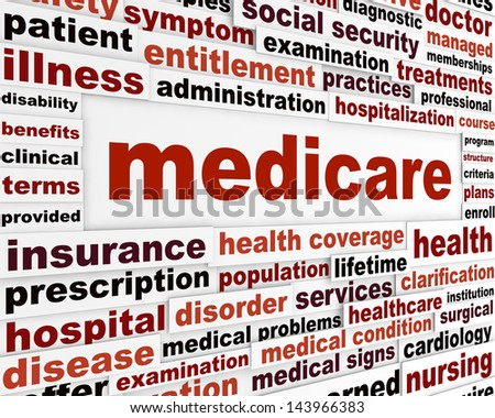 Medicare word clouds design. Health insurance creative slogan - stock photo