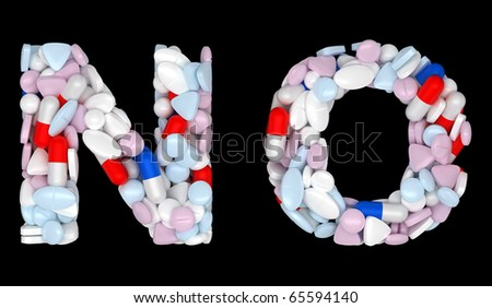 Medication font N and O pills letters over black - stock photo