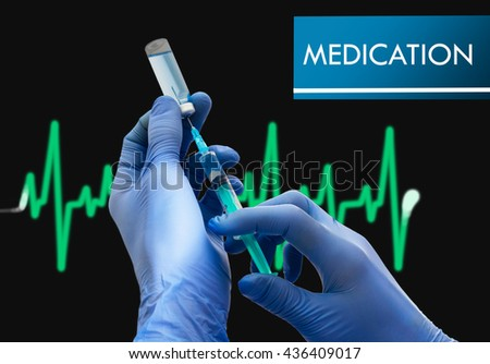 Medication. Syringe is filled with injection. Syringe and vaccine. Medical concept. - stock photo