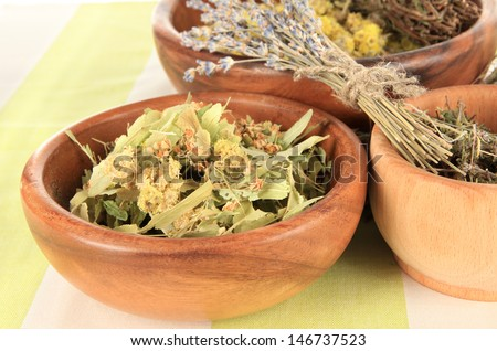 Medicinal Herbs in wooden bowls on striped tablecloth - stock photo