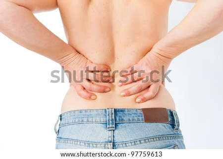 Medicine and disease - mature woman with backache - stock photo