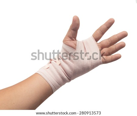 Medicine bandage on human hand isolated - stock photo