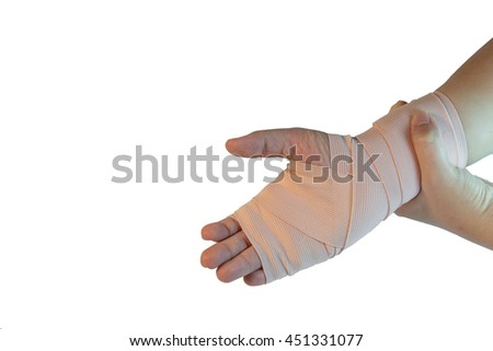 Medicine bandage on patient's wrist who wrist sprain (wrist pain) isolated on white background - stock photo