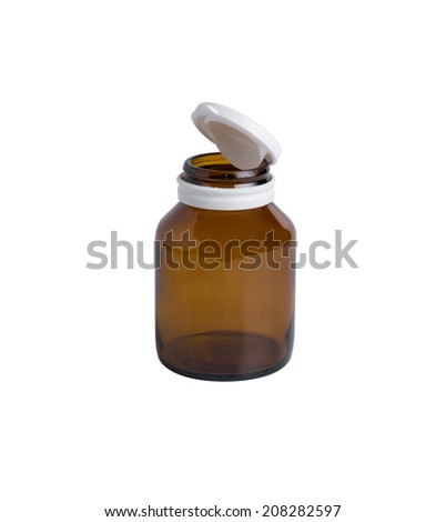 Medicine bottle of brown glass isolated on white background  - stock photo