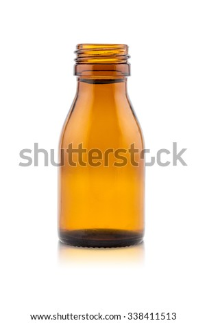 Medicine bottle of brown glass on white background, (clipping work path included). - stock photo