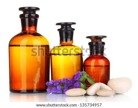 Medicine bottles isolated on white - stock photo