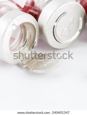 medicine capsule on white background - stock photo