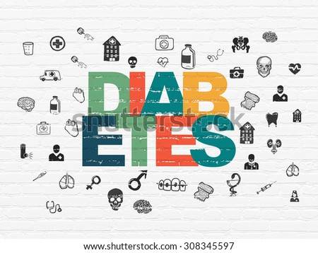 Medicine concept: Diabetes on wall background - stock photo
