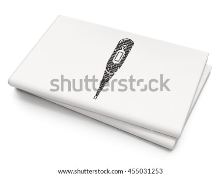 Medicine concept: Pixelated black Thermometer icon on Blank Newspaper background, 3D rendering - stock photo