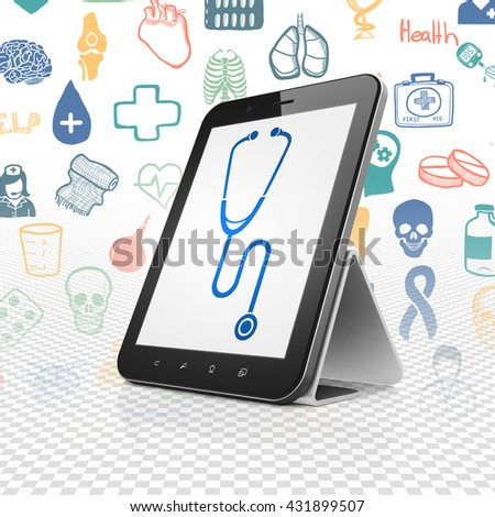 Medicine concept: Tablet Computer with  blue Stethoscope icon on display,  Hand Drawn Medicine Icons background, 3D rendering - stock photo