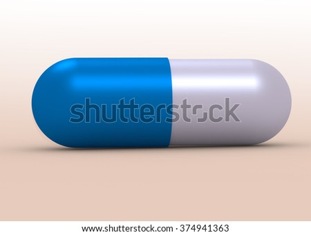 Medicine concepts. Illustration of capsule pill isolated on white - stock photo