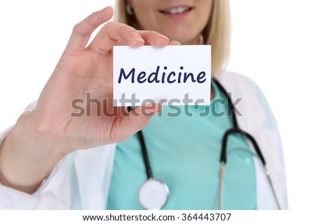 Medicine diagnosis disease ill illness healthy health doctor nurse with sign - stock photo