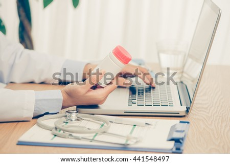 Medicine doctor's working table. Male medicine doctor operating on background. Healthcare and medical concept Copyspace - stock photo