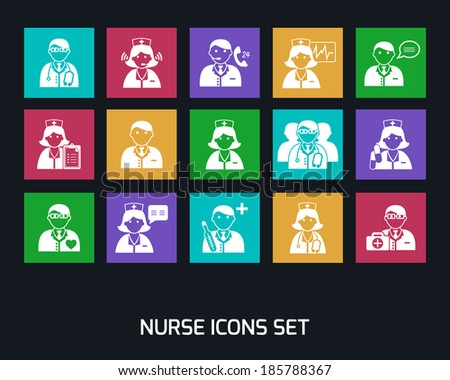 Medicine doctors and nurses icons set for emergency healthcare and hospital isolated  illustration - stock photo