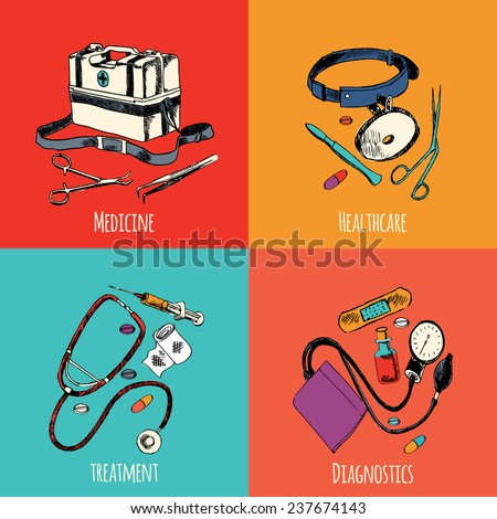 Medicine emergency healthcare colored sketch flat icons set of treatment diagnostics isolated  illustration - stock photo