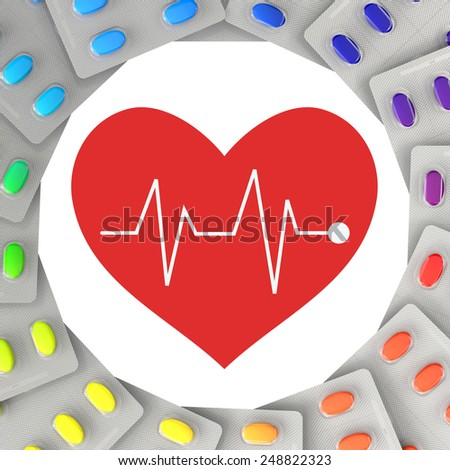 Medicine for heart and circulation with a red heart symbol (3D Rendering) - stock photo