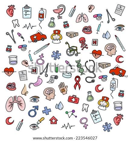 Medicine icons doodle - stock photo