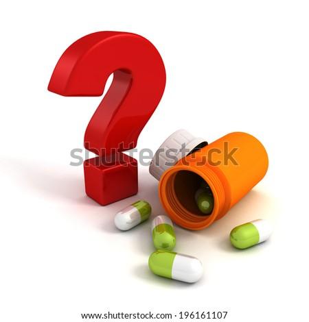 medicine pills bottle with red question mark. 3d render illustration - stock photo