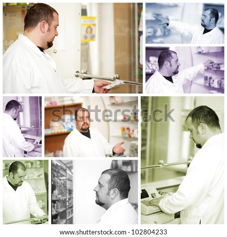 Medicine. Portrait of a male pharmacist at pharmacy - stock photo