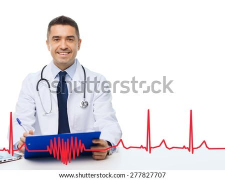 medicine, profession, technology and people concept - happy male doctor with clipboard and stethoscope over red cardiogram pattern - stock photo