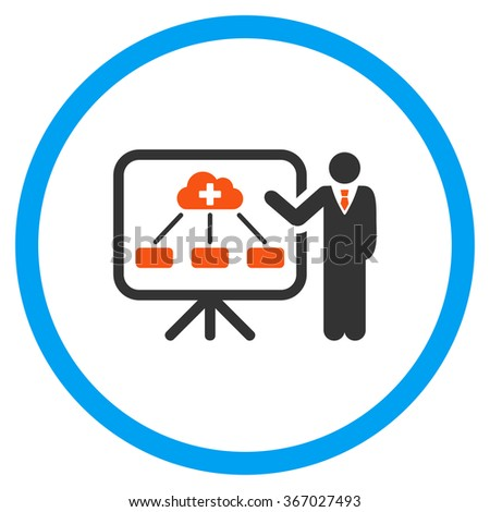 Medicine Structure Report glyph icon. Style is flat circled symbol, orange and blue colors, rounded angles, white background. - stock photo