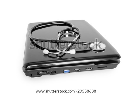 medicine technology;  laptop with stethoscope isolated on white - stock photo