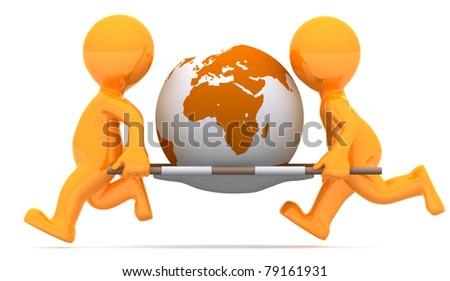 Medics carrying earth globe. Conceptual economic illustration.. Isolated on white background - stock photo