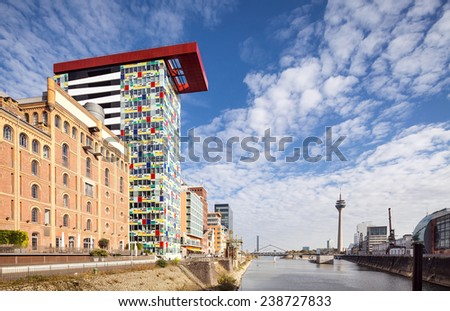 Medienhafen business and office district in Dusseldorf - stock photo