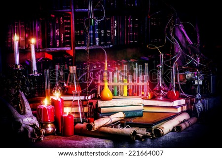 Medieval alchemist laboratory. Halloween. Fairy-tale interior. - stock photo