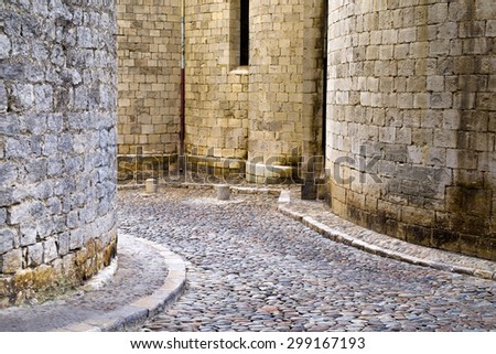 Medieval architecture detail in Girona, Catalonia, Spain - stock photo