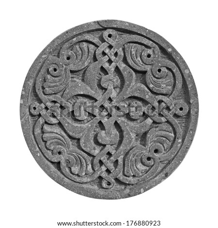 Medieval armenian ornament on cross-stone isolated on white - stock photo