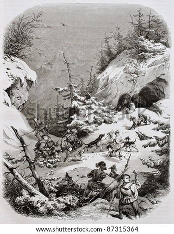 Medieval bear hunting on the Alps old illustration. Created by Girardet, published on Magasin Pittoresque, Paris, 1844 - stock photo