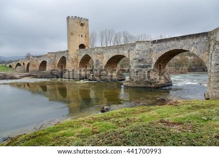 Medieval bridge of Frias in Burgos, Spain - stock photo