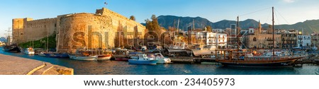 Medieval castle and harbor view in Kyrenia - stock photo