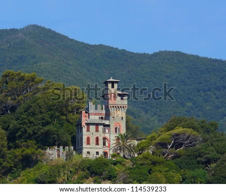 Medieval Castle at Moneglia, Italy - stock photo
