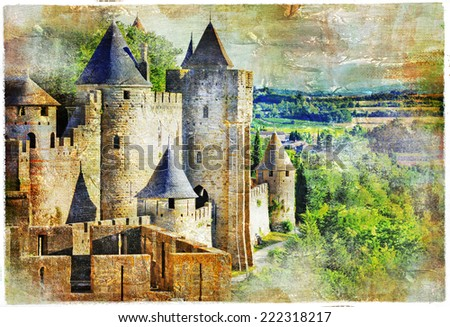 medieval castle Carcassonne, France, artisric picture - stock photo