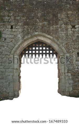 Medieval castle gate, white background - stock photo