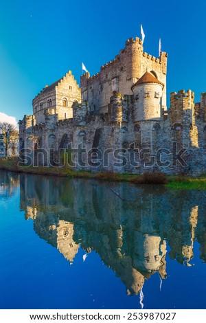 Medieval castle Gravensteen, Castle of the Counts, in Gent, Belgium - stock photo
