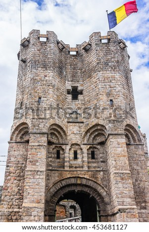 Medieval castle Gravensteen (Castle of the Counts) in Gent, Belgium. Present castle was built in 1180 by count Philip of Alsace. - stock photo