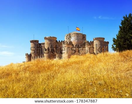 Medieval castle in Belmonte. Castile-La Mancha, Spain - stock photo