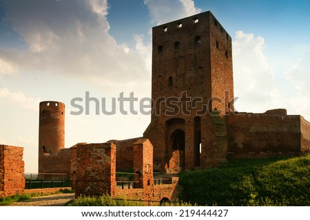 Medieval castle in  Czersk. Gothic style. - stock photo