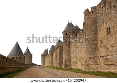 Medieval castle of Carcassonne isolated on white - stock photo