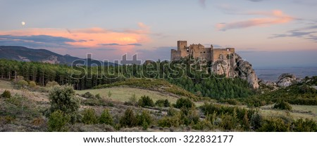 Medieval castle of Loarre,Aragon, Spain - stock photo