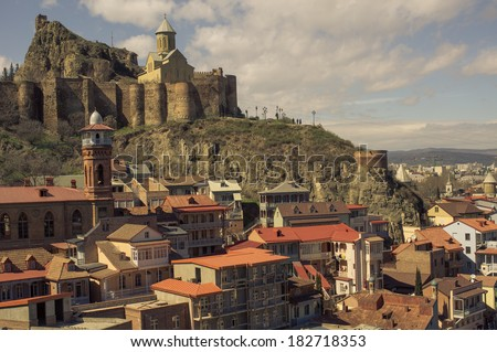 Medieval castle of Narikala  in Old Tbilisi, Georgia - stock photo