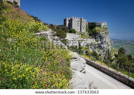Medieval Castle of Venus in Erice, Sicily, Italy - stock photo