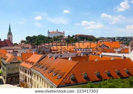 Medieval castle on the hill against the sky, Bratislava, Slovakia - stock photo