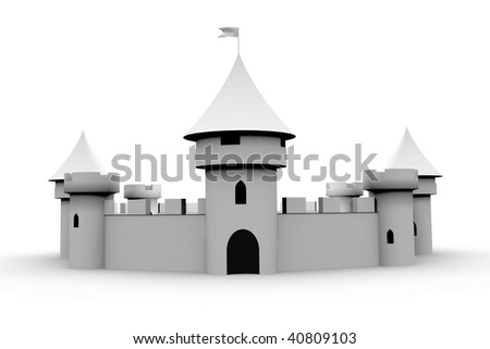 medieval castle on white - stock photo